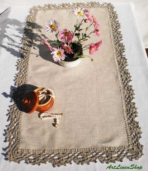 Rustic Pine Toung And Groove Interior Design: Linen Table Runners Small Crochet Doily Lace Tablecloth