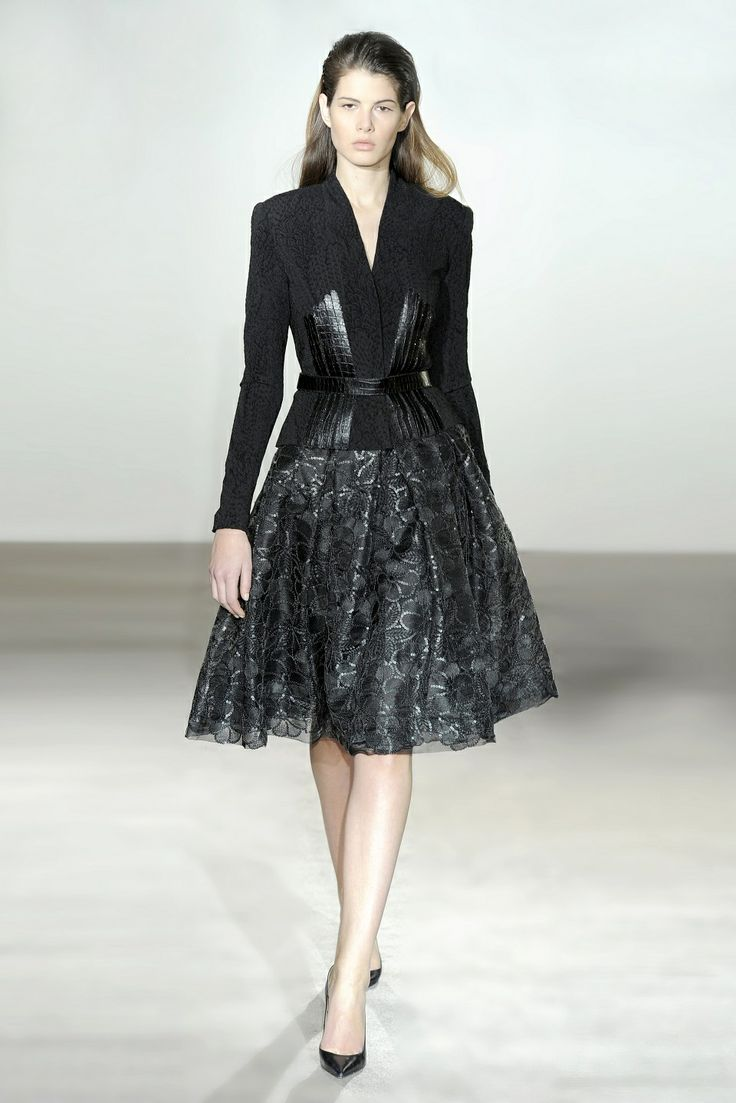 Collette Dinnigan Italian Stretch Brocade & Leather Jacket and Sequin Forest Gathered Skirt