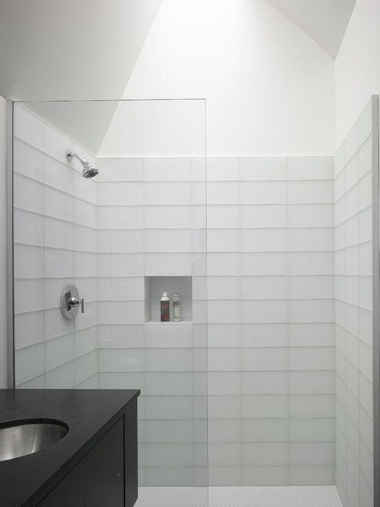 Bright Modern Bathroom White Tile Shower Backsplash