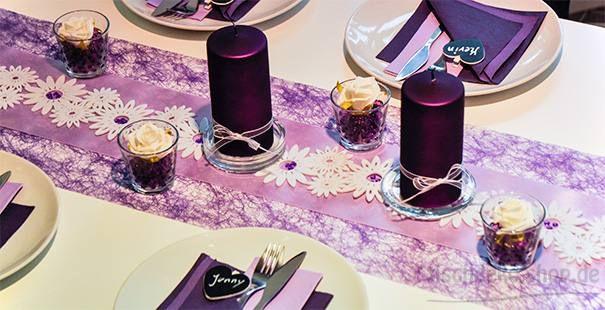 violett flieder wei tischdeko blumen deko pinterest. Black Bedroom Furniture Sets. Home Design Ideas