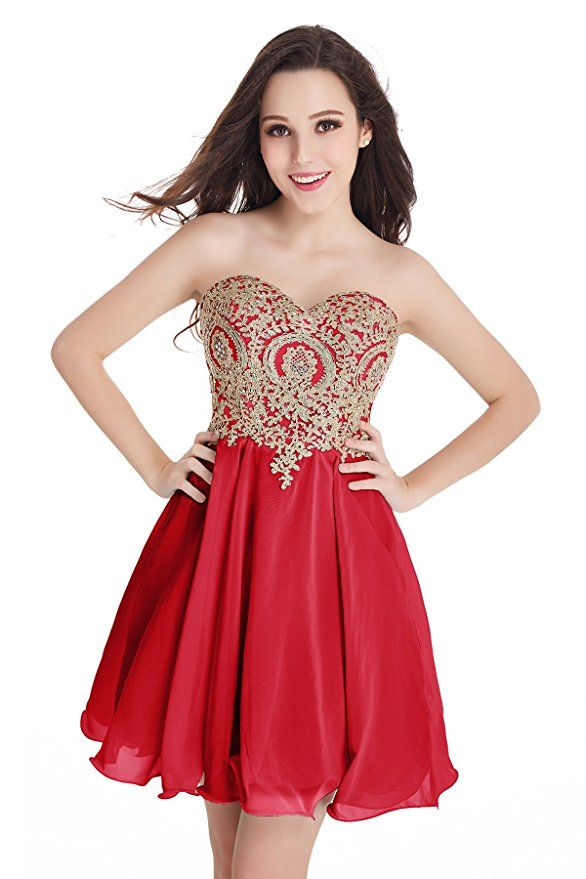 Short Beaded Gold Applique Homecoming Party Dresses For Juniors (ad) homecoming dress, prom dress, party dress