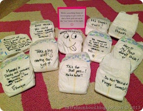 Write messages on diapers for the parents to read during middle of the night changings. Baby shower games ideas, free printables.