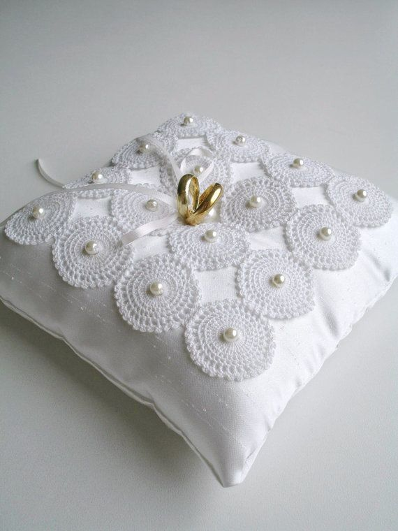 Ringbearer Pillow in Ivory Color With by WHITEStardust on Etsy, $38.00
