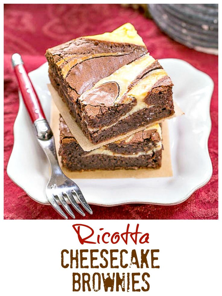 Ricotta Cheesecake Brownies | Fudgy Brownies with a delectable cheesecake swirl @lizzydo
