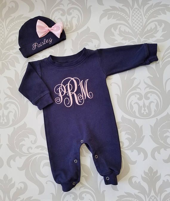 a5099306d Baby Girl Coming Home Outfit Newborn Personalized Sleeper Baby Girl ...