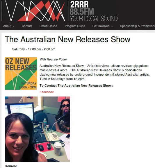2RRR / 'Smoke Screen' played in The Australian New Releases Show