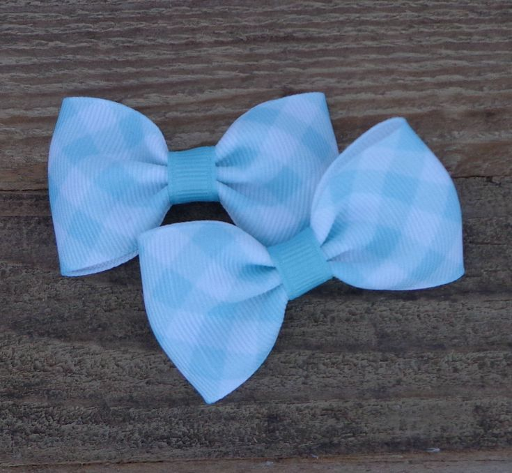 Pigtail Hair Bows~Easter Hair Bow~Light Aqua Gingham Hair Bow~Small Hair Bow~Gingham Hair Bow~Bows For Pigtails~Pastel Hair Bows~Hairbows by LizzyBugsBowtique on Etsy
