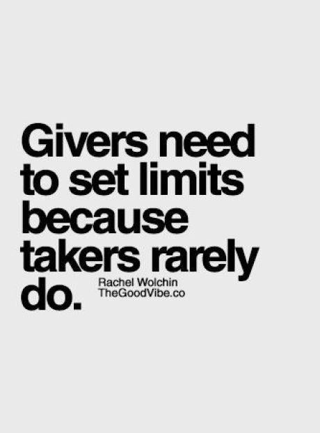 Givers need to set limits.