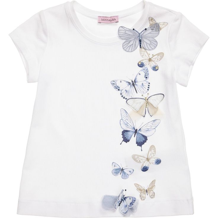Monnalisa girls white cotton jersey t-shirt with a pretty blue and beige themed butterfly design on one side. There are printed as well as appliquéd butterflies, some embellished with diamanté jewels and others with tulle net wings.<br /> <ul> <li>95% cotton, 5% elastane (soft stretch jersey)</li> <li>Machine wash (30*C)</li> </ul>