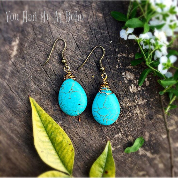 Turquoise boho earrings, gemstone earrings, blue earrings, ethnic jewellery, tribal earrings, gift fo her, uk shop, uk seller by YouHadMeAtBoho on Etsy https://www.etsy.com/uk/listing/187733243/turquoise-boho-earrings-gemstone