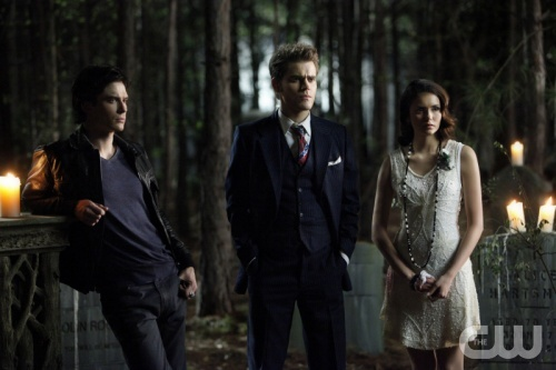 """THE VAMPIRE DIARIES """"Do Not Go Gentle"""" Pictured (L-R): Ian Somerhalder as Damon, Paul Wesley as Stefan, and Nina Dobrev as Elena. Quantrell D. Colbert/The CW ©2012 THE CW NETWORK. ALL RIGHT RESERVED."""