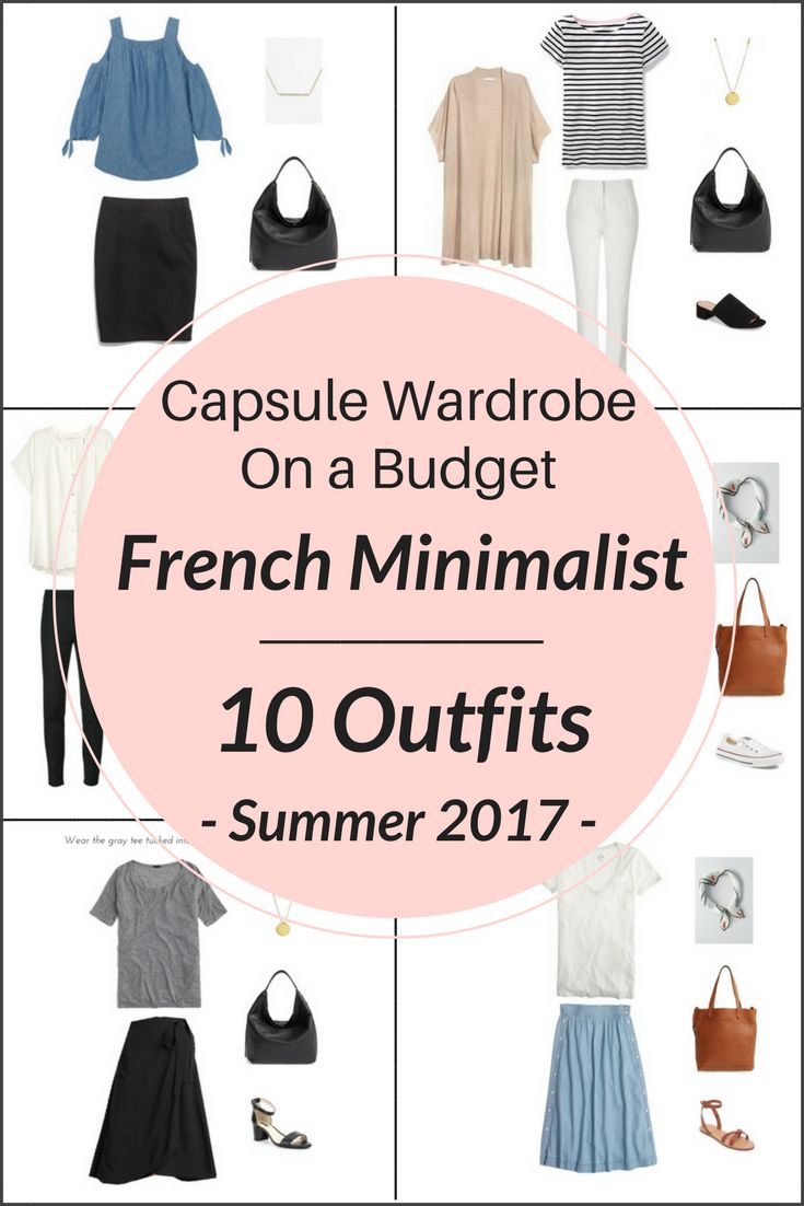 Create a capsule wardrobe on a budget!  I'm sharing a few pieces from the French Minimalist Capsule Wardrobe: Summer 2017 collection and showing how you can mix and match those pieces to create several outfits! The collection will transform your closet by turning 26 clothes and shoes into 100 outfit ideas.  A few items are cold shoulder top, wrap skirt, denim skirt, chambray skirt, linen shorts, white tee tshirt, sneakers, cardigan, sandal heels, peplum top, and jeans.