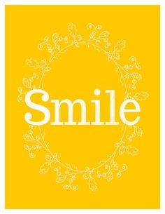 Smile quote in yellow