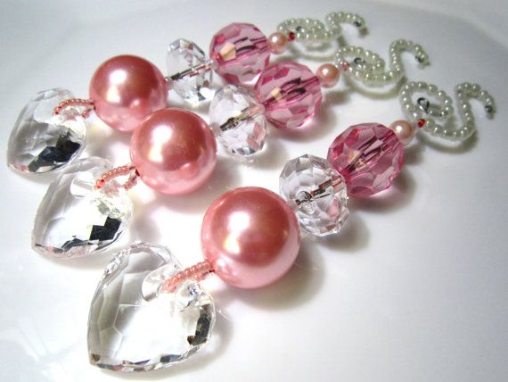 3 Pale Pink Christmas Ornament Heart Dangles with Fabulous Chunky Beads on Whimsical Spiral Beaded Ornament Hangers