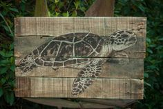 Sea turtle Rustic beach decor Lake house decor by SimplyPallets