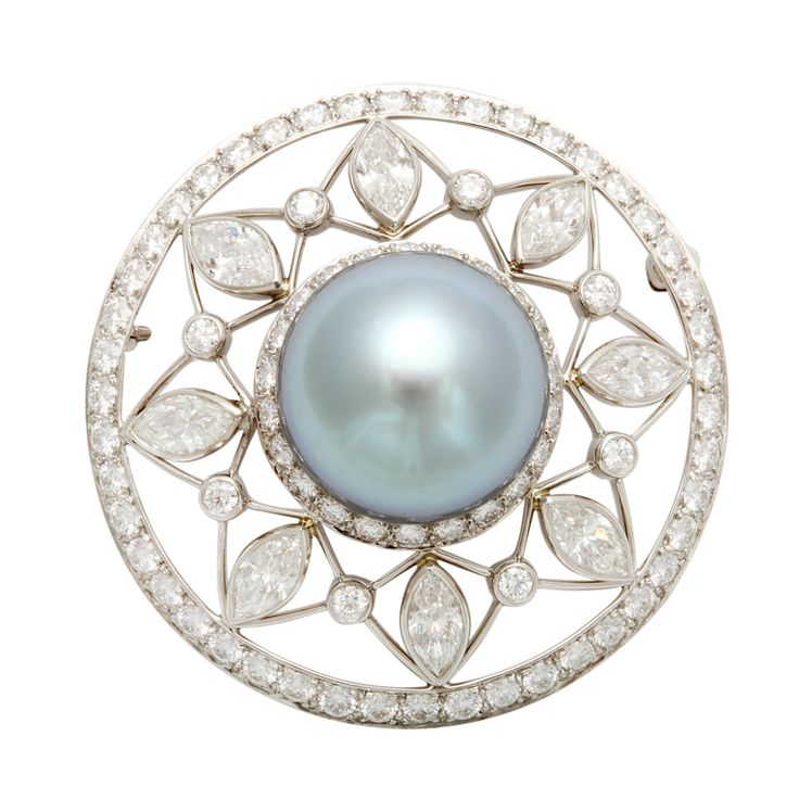 TIFFANY Pearl Diamond Brooch Extremely rare Tiffany cultured Tahitian pearl is accented here by gemstones which highlight the pearl's exotic color.