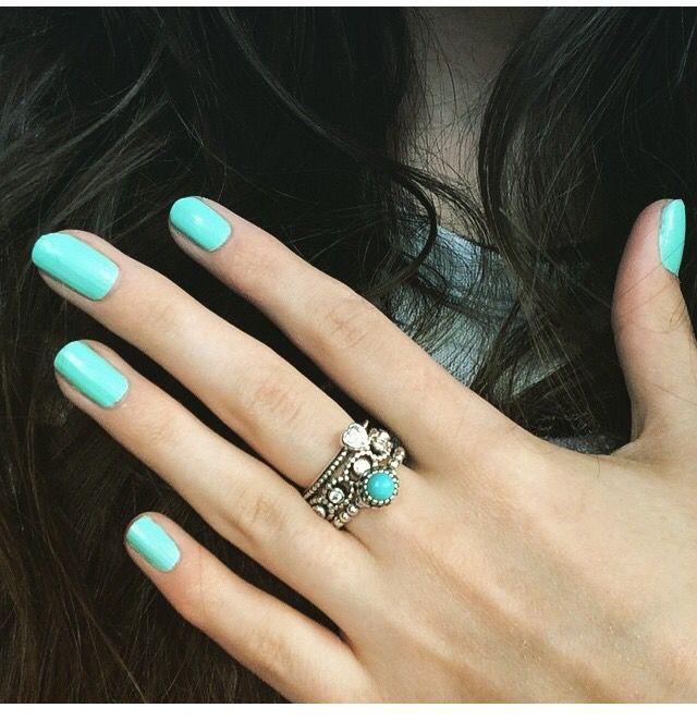Pandora birthstone ring December! Pandora stack and matching nails!