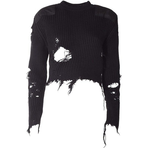 Yeezy by Kanye West Destroyed Crop Blouclè Sweater ( Season 3 ) ($735) ❤ liked on Polyvore featuring tops, sweaters, nero, long sleeve tops, crew neck sweaters, crewneck sweaters, cropped crew neck sweater and crew sweater