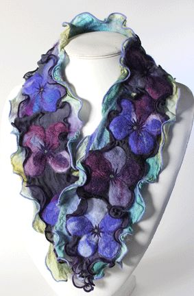 Vivid hand dyed and felted floral design scarf