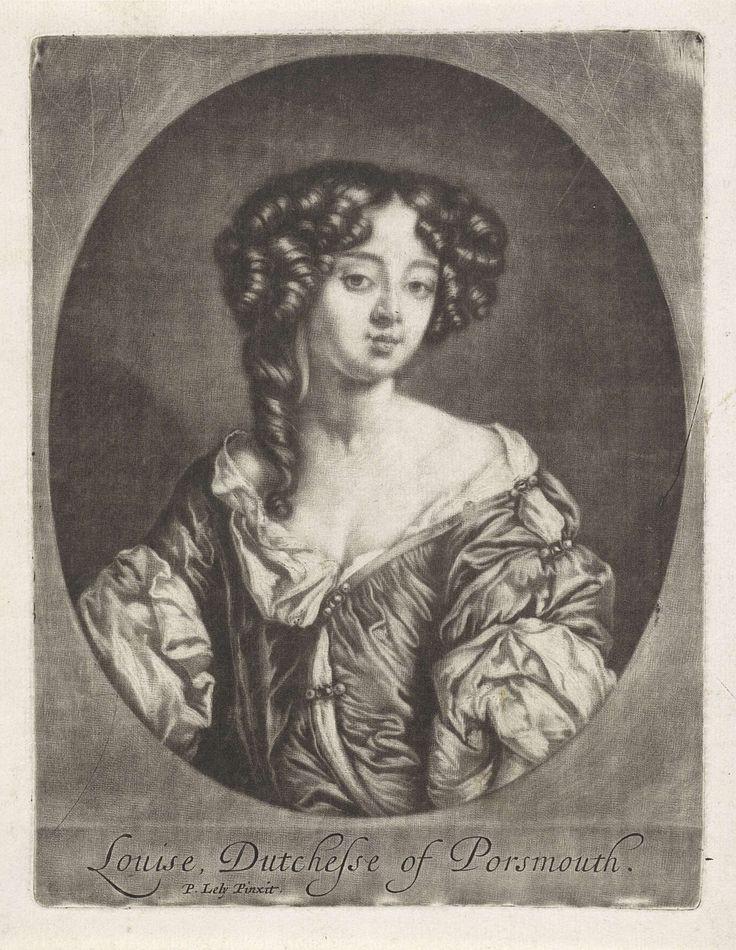 Anonymous   Portret van Louise de Kéroualle hertogin van Portsmouth, Anonymous, Gerard Valck, 1662 - 1760   Louise de Kéroualle hertogin van Portsmouth. Ze was een van de maîtresses van Karel II van Engeland en werd in 1673 tot hertogin verheven.