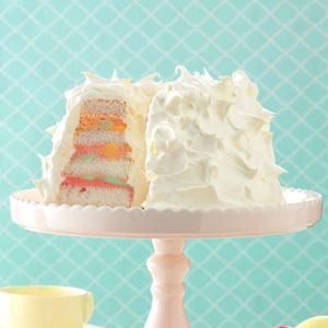 Rainbow Sherbet Angel Food Cake for Easter. My Favorite Cake for my Birthday too.  Wonderful served with Fresh Berries.