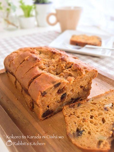 お豆腐ときな粉で作るヘルシーなバナナ&プルーンのパウンドケーキ☆バターや砂糖を使わない、しっとりモチモチタイプのケーキです♪