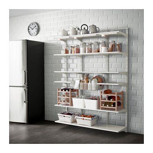 IKEA - ALGOT, Crémaillère/tablette/corbeille, Les éléments de la série ALGOT se combinent de nombreuses façons différentes et peuvent ainsi facilement s'adapter à vos besoins et à l'espace dont vous disposez.Les consoles sont à accrocher sur les crémaillères ALGOT partout où vous avez besoin d'une tablette ou d'accessoires ; aucun outil n'est nécessaire.Peut aussi s'utiliser dans la salle de bain et dans d'autres zones humides, à l'intérieur de la…