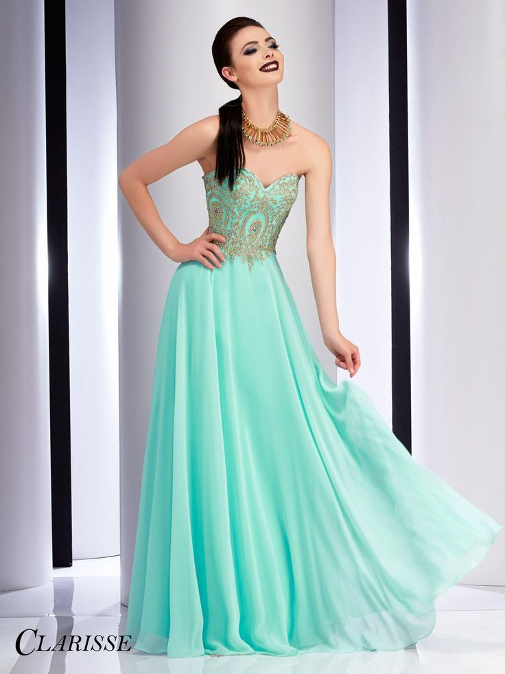 Clarisse 2017 Strapless Chiffon Style 2715 in Mint. Float across the dance floor in this strapless a-line dress with lace appliqué, a flowy chiffon skirt and a sweetheart neckline. Buy yours from a Clarisse retailer! Click to see all of the gorgeous colors and learn more! SIZE: 00-24