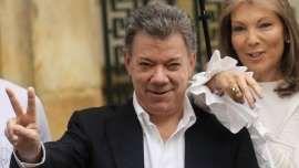 """Juan Manuel Santos con su esposa, María Clemencia """"Tutina"""" Rodríguez Múnera, con quien contrajo matrimonio en 1987."""
