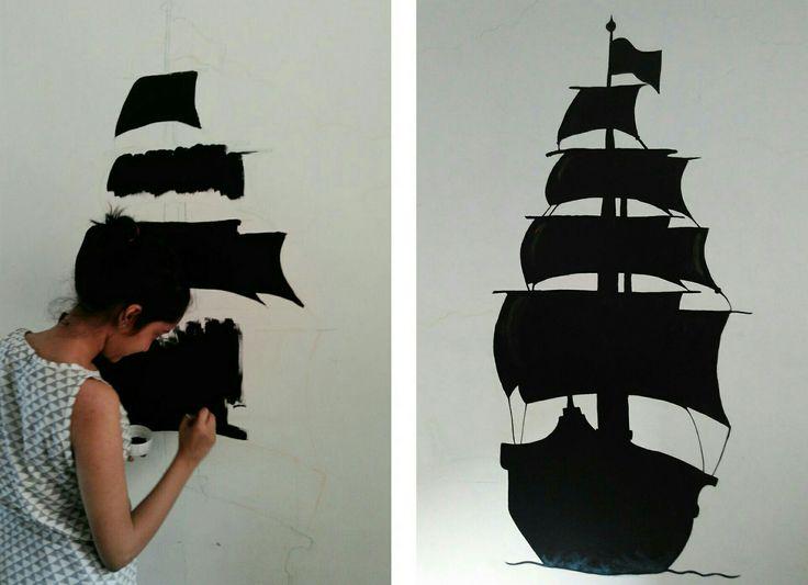 #wall #paint #wallpaint #ship #diy