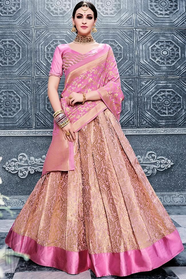 fe314e67b6 Buy Onion Pink and Pink Banarasi Silk Lehenga Set Online at indi.fashion