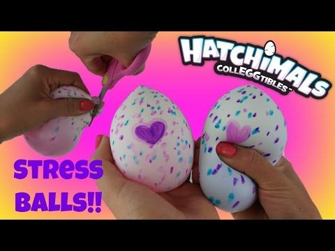 HATCHIMALS CollEGGtibles Cutting Open DIY Stress Ball Squishy with Slime & Toy inside! - YouTube