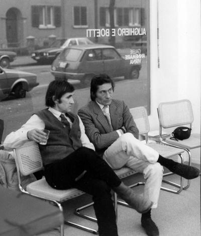 Alighiero Boetti with Aldo Mondino at Boetti's show @ Galerie Annemarie Verna, Zurich, 1970s