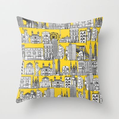 New+York+yellow+Throw+Pillow+by+Sharon+Turner+-+$20.00