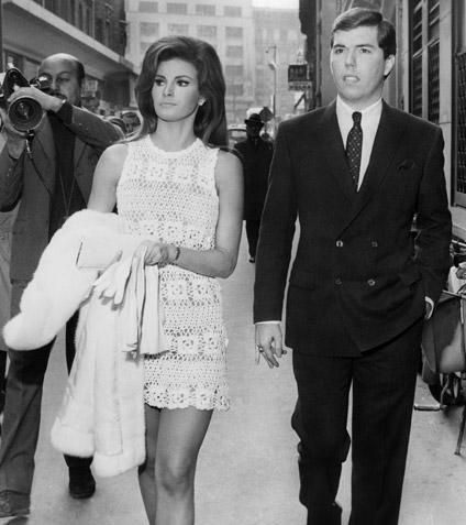 Raquel Welch in a crochet mini dress worn for her second wedding to Patrick Curtis 1967