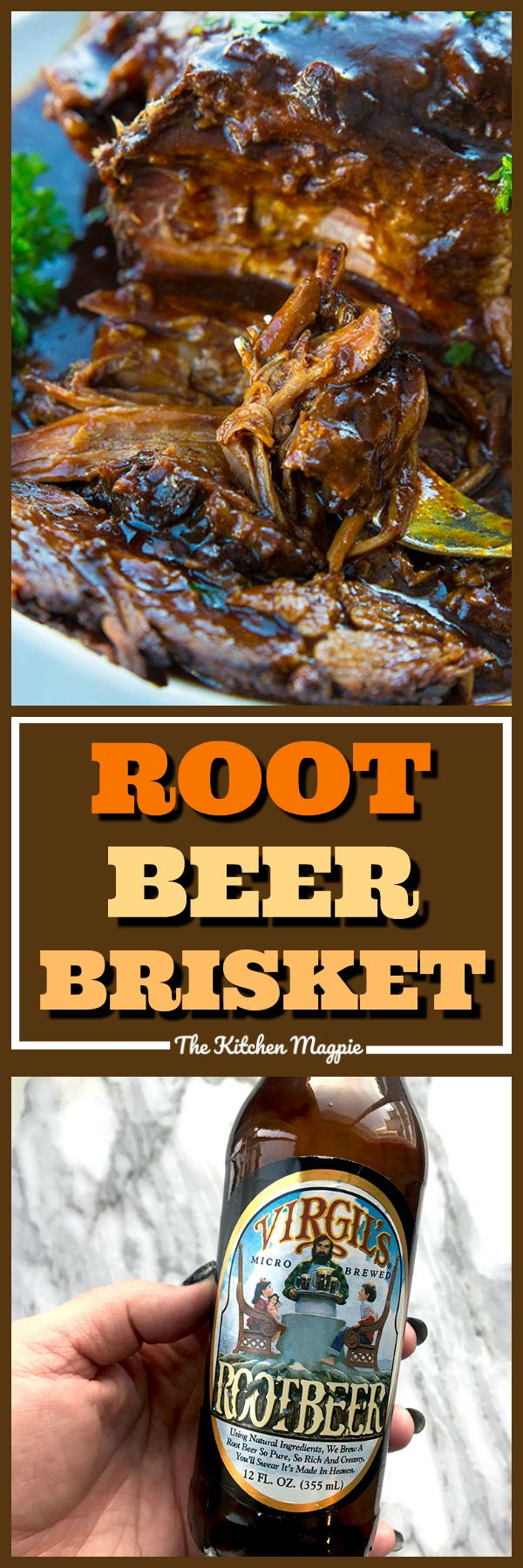 Root Beer BBQ Slow Cooker Brisketwill thrill kids and adults alike! Using root beer and BBQ sauce together makes this the easiest and tastiest slow cooker brisket you'll ever have! Put this on your permanent dinner rotation list!#brisket #rootbeer #slowcooker #crockpot