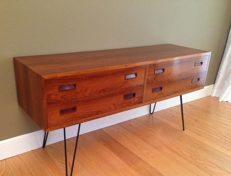 Rosewood Credenza by Poul Hundevad with Hairpin Legs.