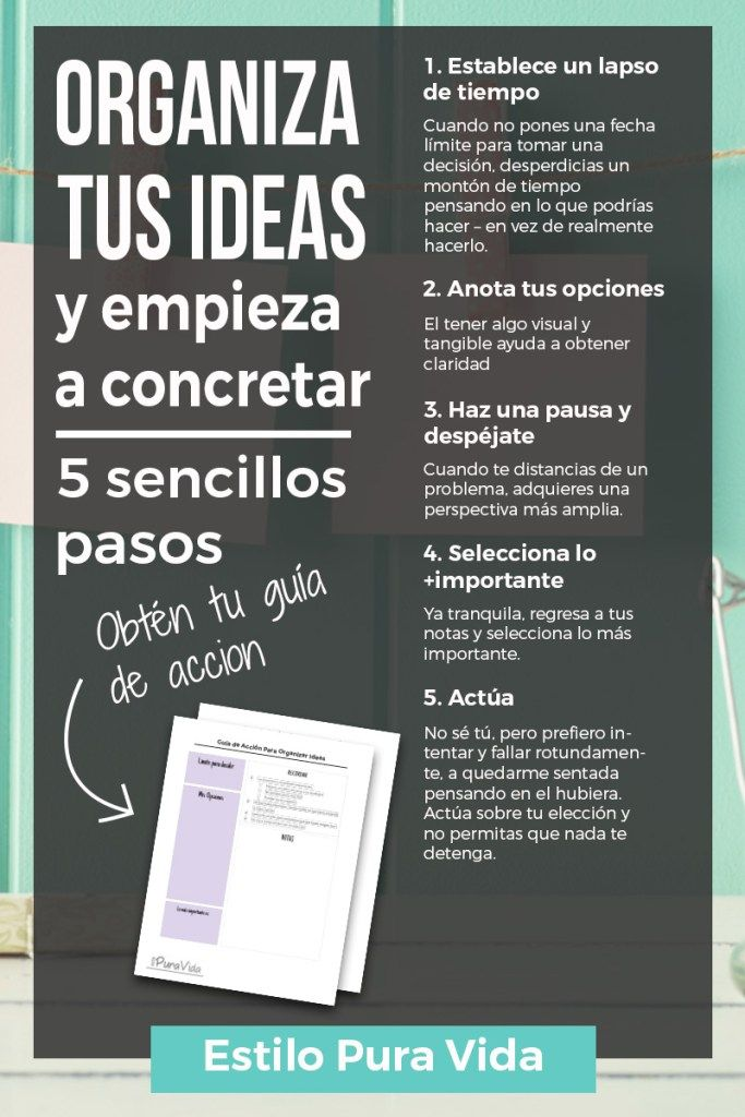 Un sencillo método para organizar tus ideas, mantenerte enfocada y sacar tus proyectos adelante. Estos 5 pasos acabarán con la confusión de tu cabeza.