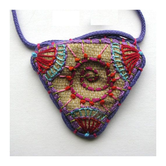 Hand Embroidered Spiral Geometric Necklace, by Madrigal Embroidery on Etsy.  Her work is gorgeous.