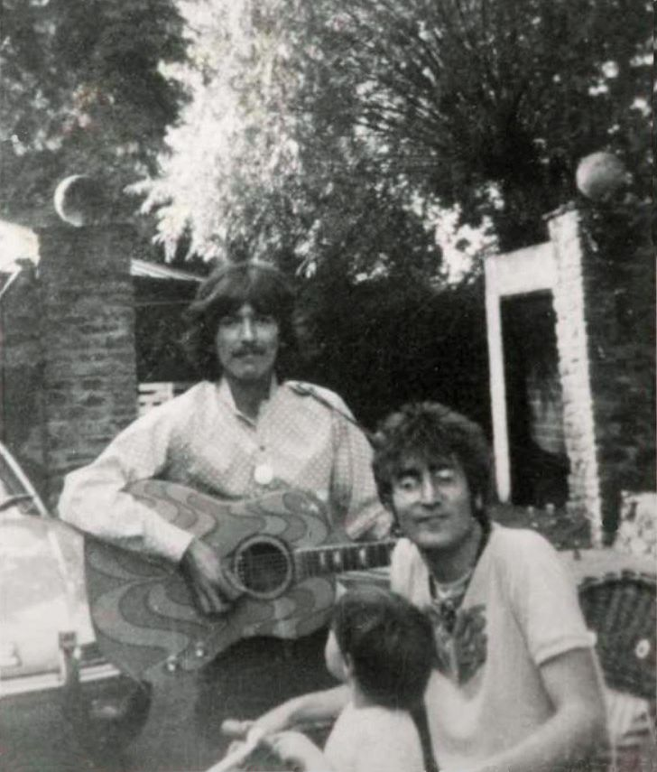 truthaboutthebeatlesgirls:  1967 - George, John and Julian. Ebay auction listing scan currently up for bid - $499.00 starting bid! Auction #391047702557. Details anybody?