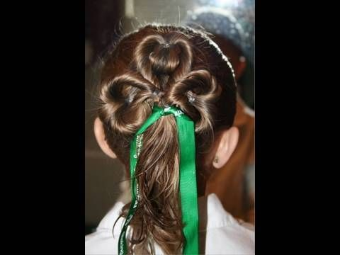 Three-Leaf Clover / St. Patrick's Day Hairstyles from my favorite mom tutorial CuteGirlsHairstyles.com