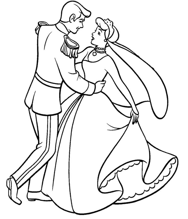 Cinderella dance with prince coloring page father for Father and daughter coloring pages