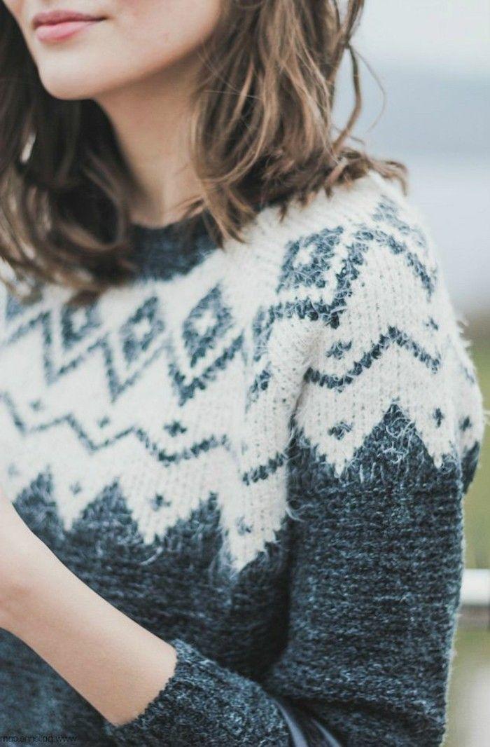 Idée pull femme jacquard tenue hiver