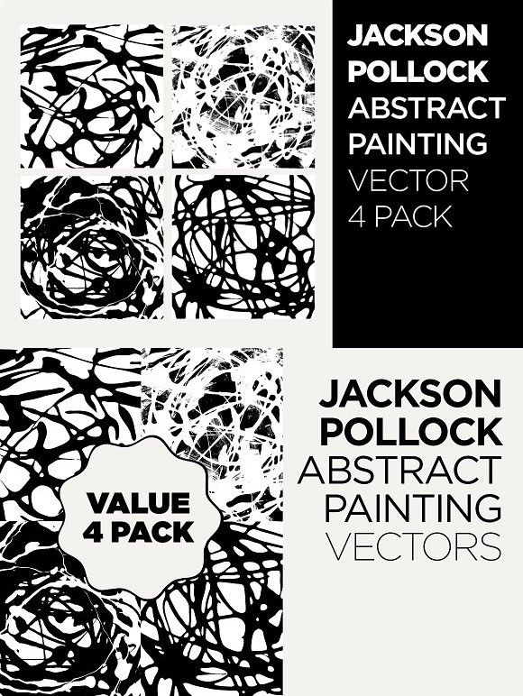 Abstract Drip Painting Vector 4 PACK. Patterns