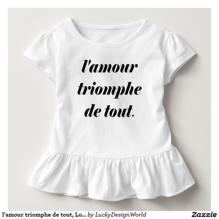 "l'amour triomphe de tout, Love conquers all Toddler T-shirt:This design features a French inspirational quote ""l'amour triomphe de tout"" with a little heart as well. The essential meaning of the words is ""love conquers all"". Love prevails and every heart is uniquely loving.    The design would make a great gift for a shower, birthday, for a festive occasion or for someone who likes all things French.  #typography #betype #lettering #love #motivation #lifestyle #LAmourTriompheDeTout"
