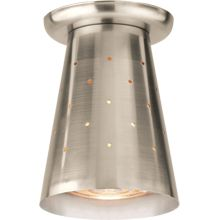 Love this for above kitchen breakfast counter.   Cove  Item #A4680  Atomic Age Flush Ceiling Fixture   The clean modern lines of a gleaming perforated cone make for an unusually decorative accent light. -Moe Light Co. Inspiration Lighting catalogue, 1957 $150.00