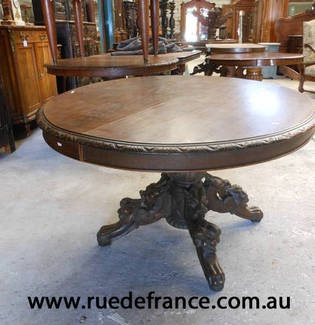 ANTIQUE FRENCH CARVED OAK SIDE TABLE or SMALL DINING TABLE