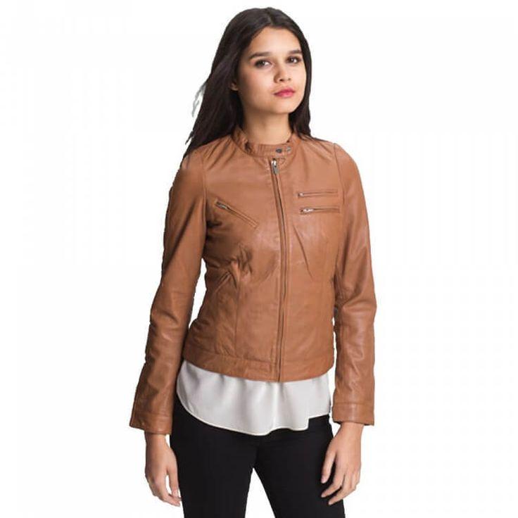 Ladies Brown Leather Jacket  #Handmade #Motorcycle
