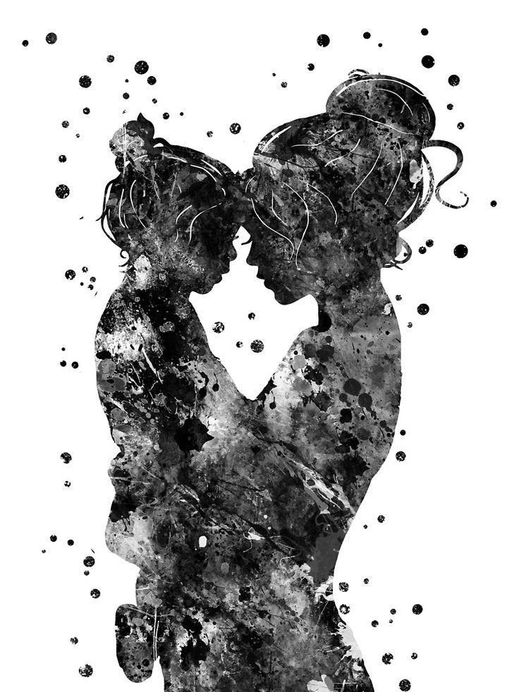 'Moeder en dochter' Canvasdruk door Rosaliartbook