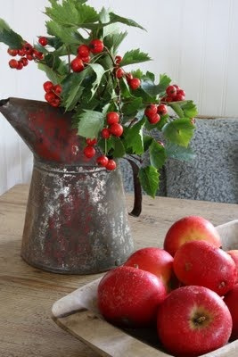 Simple Christmas decor with holly and apples